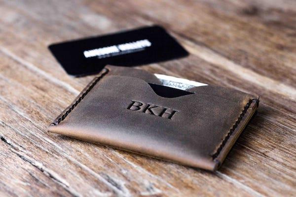 652fb170b27dc Mens Front Pocket Wallet - Add Monogram  Handmade   FREE Shipping