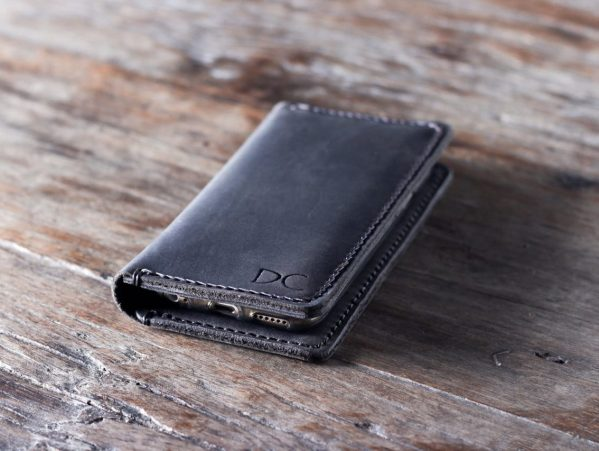 dark leather iPhone wallet case with personalization
