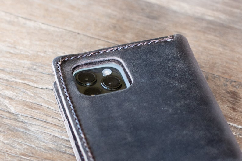 Leather iPhone 11 Wallet Case Dark [All iPhone Devices] 2