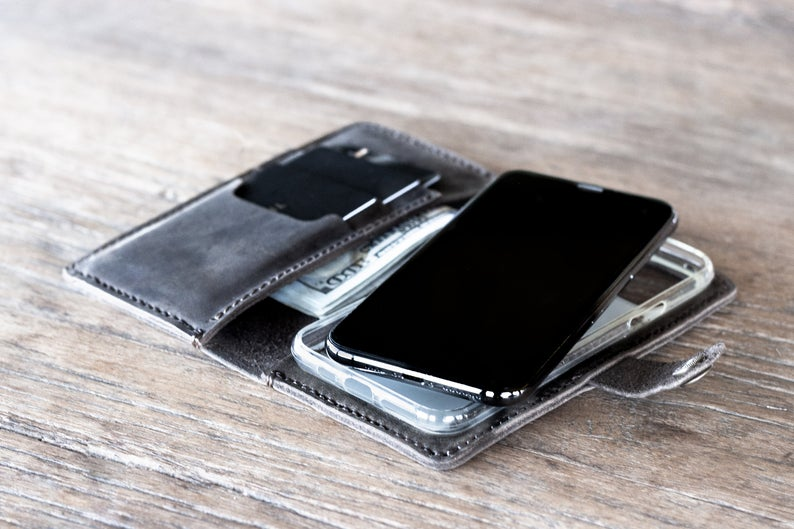 Leather iPhone 11 Wallet Case Dark [All iPhone Devices] 5