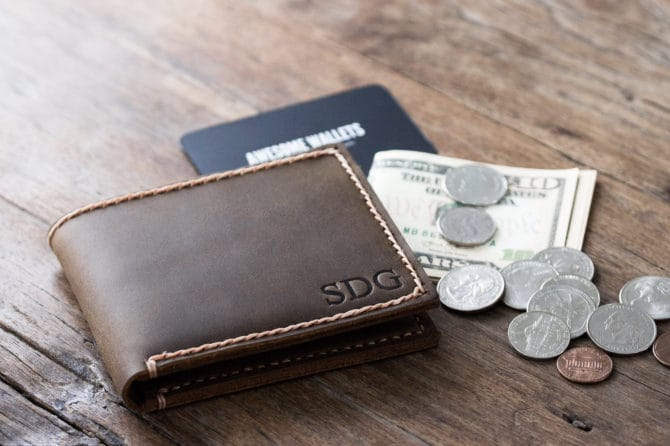Mens Leather Wallet with Coin Pocket - 003