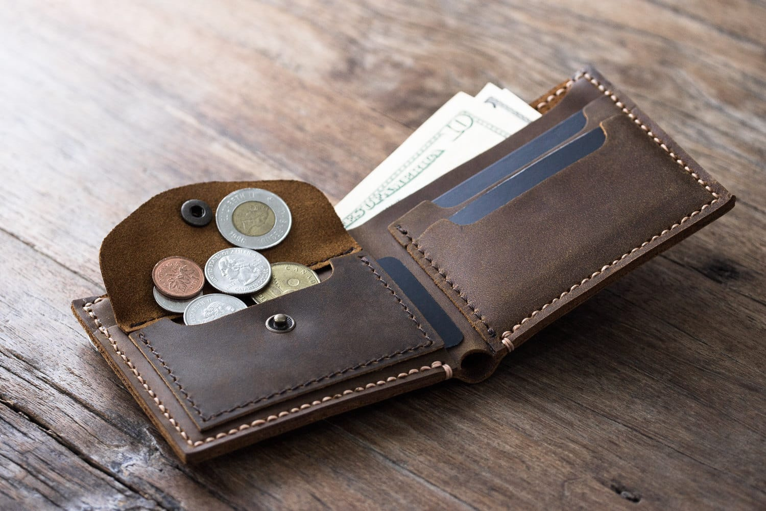 Leather Coin Pocket Wallet Handmade Original Design By