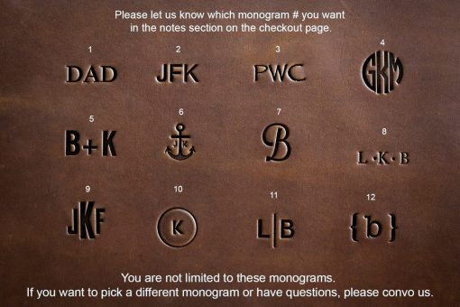 personalized leather monograms