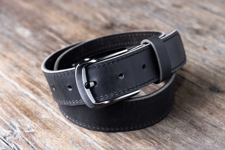 mens black leather belt with pocket joojoobs