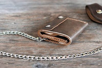 Leather Trifold Chain Wallet 1