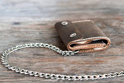 Leather Trifold Chain Wallet 2