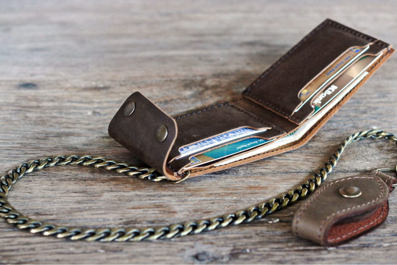 Leather Bifold Wallet With Chain Joojoobs