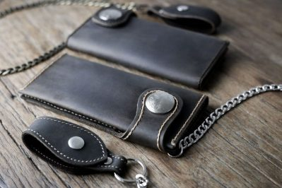 Mens Leather Biker Wallet Dark