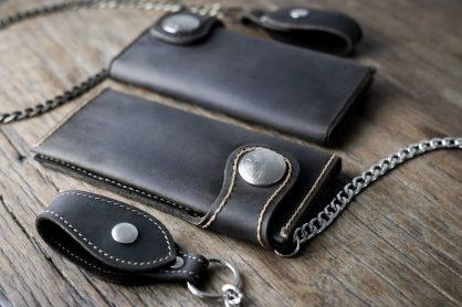 Mens Leather Biker Wallet Dark