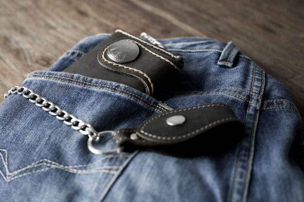 leather biker wallet