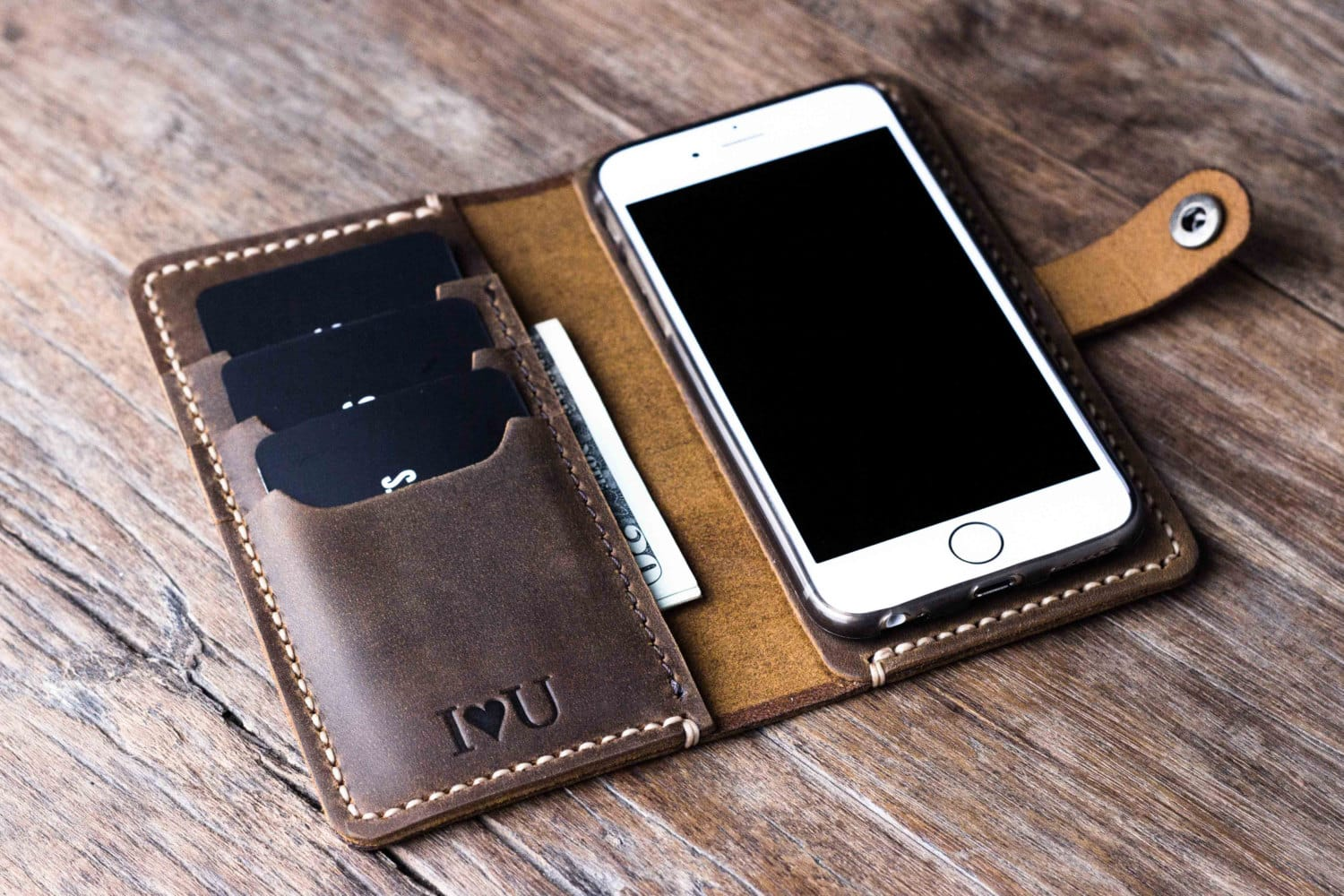 Leather Iphone  Case With Initials