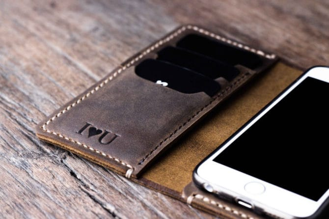 leather iphone wallet case with strap 056-2