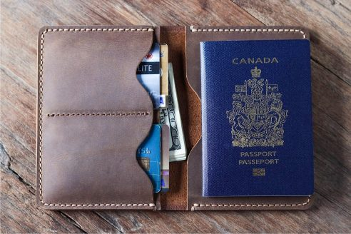 Leather Travel Wallet Personalized