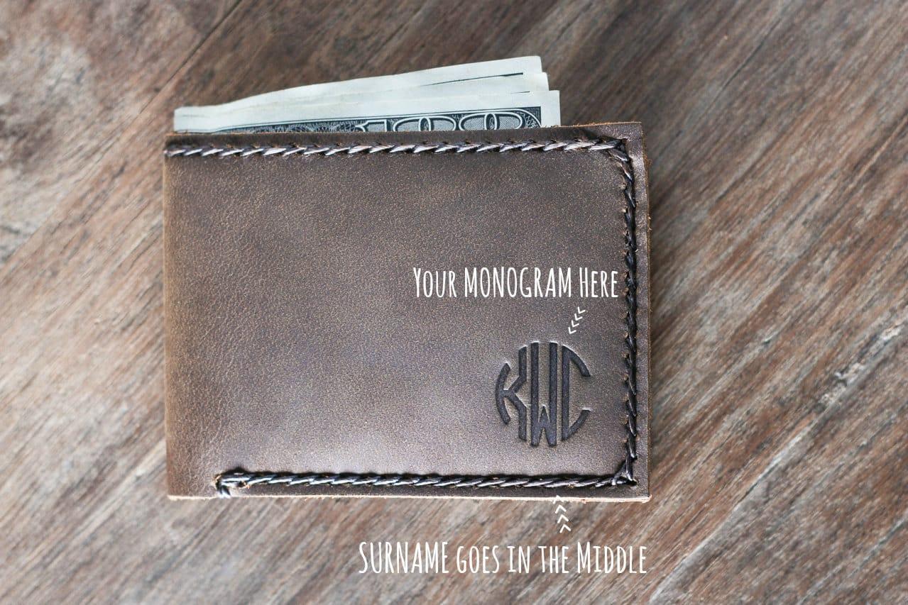 ac7b5a515399d Monogram Wallet - leather wallet 024. minimalist slim wallet personalized