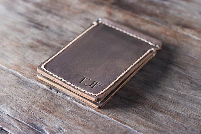d9a79bdb6141 Vertical Money Clip Wallet  Handmade   Personalized   Free Shipping
