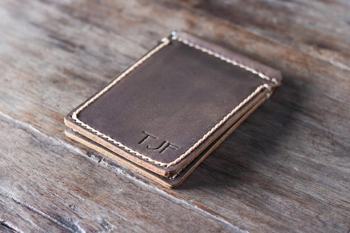 Leather Money Clip Wallet Personalized Joojoobs