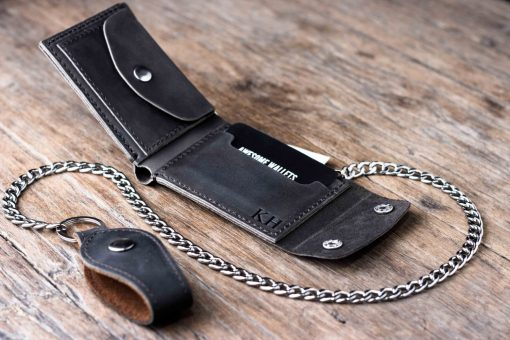 black leather biker coin wallet