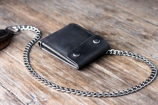 black leather biker coin wallet