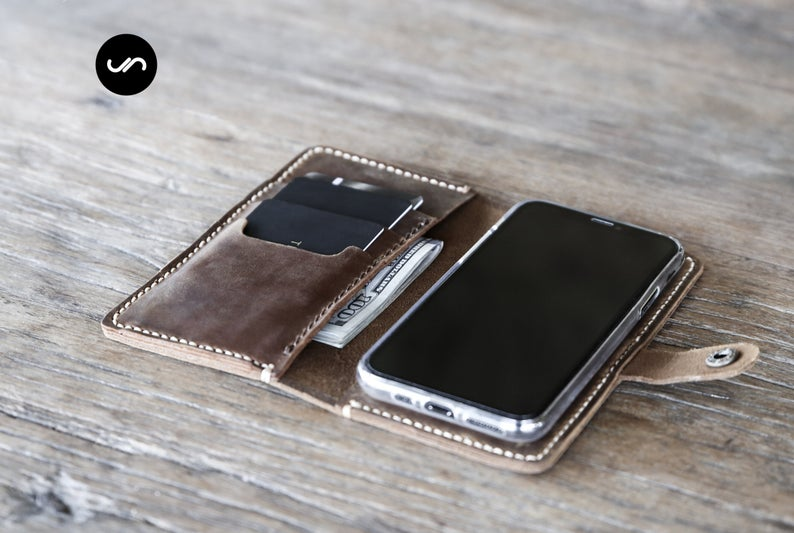 Leather iPhone Wallet Case with Closure [Free Shipping][Pick Your Device] 2