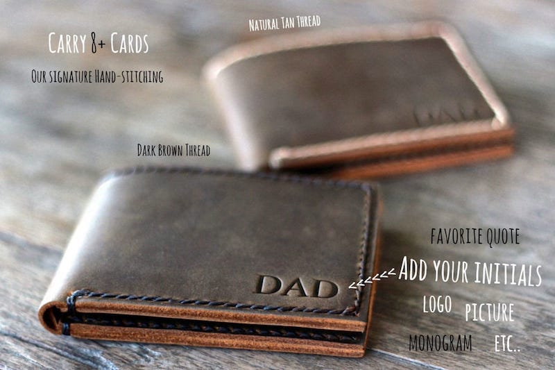 you can add custom Logo or Initials High Quality Handmade Bifold Leather Wallet