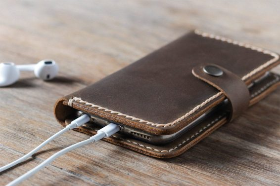 leather iphone wallet case with strap lead picture