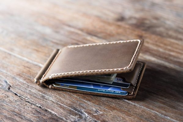 mens leather wallet with money clip