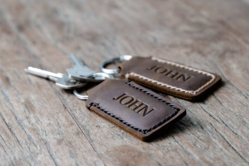 leather Keychain fob handmade personalized