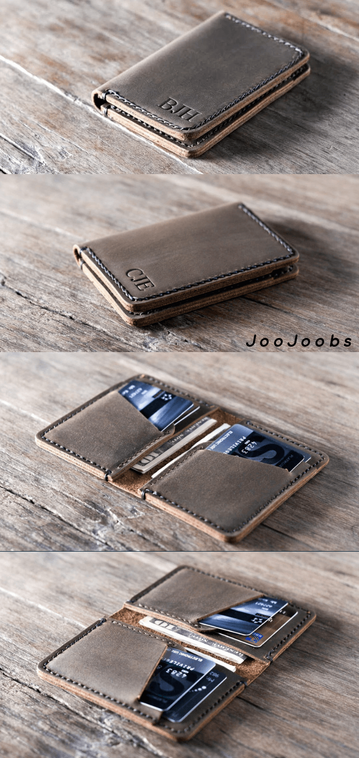 Personalized Handmade Leather Wallet by JooJoobs This handmade leather wallet is made using premium full-grain distressed leather. Size: 3″ by 4.5″ by 3/8″ Holds 8 – 10 cards + folded cash You also have the option to have your custom, made to order wallet personalized. Add initials, a name, a date, etc.