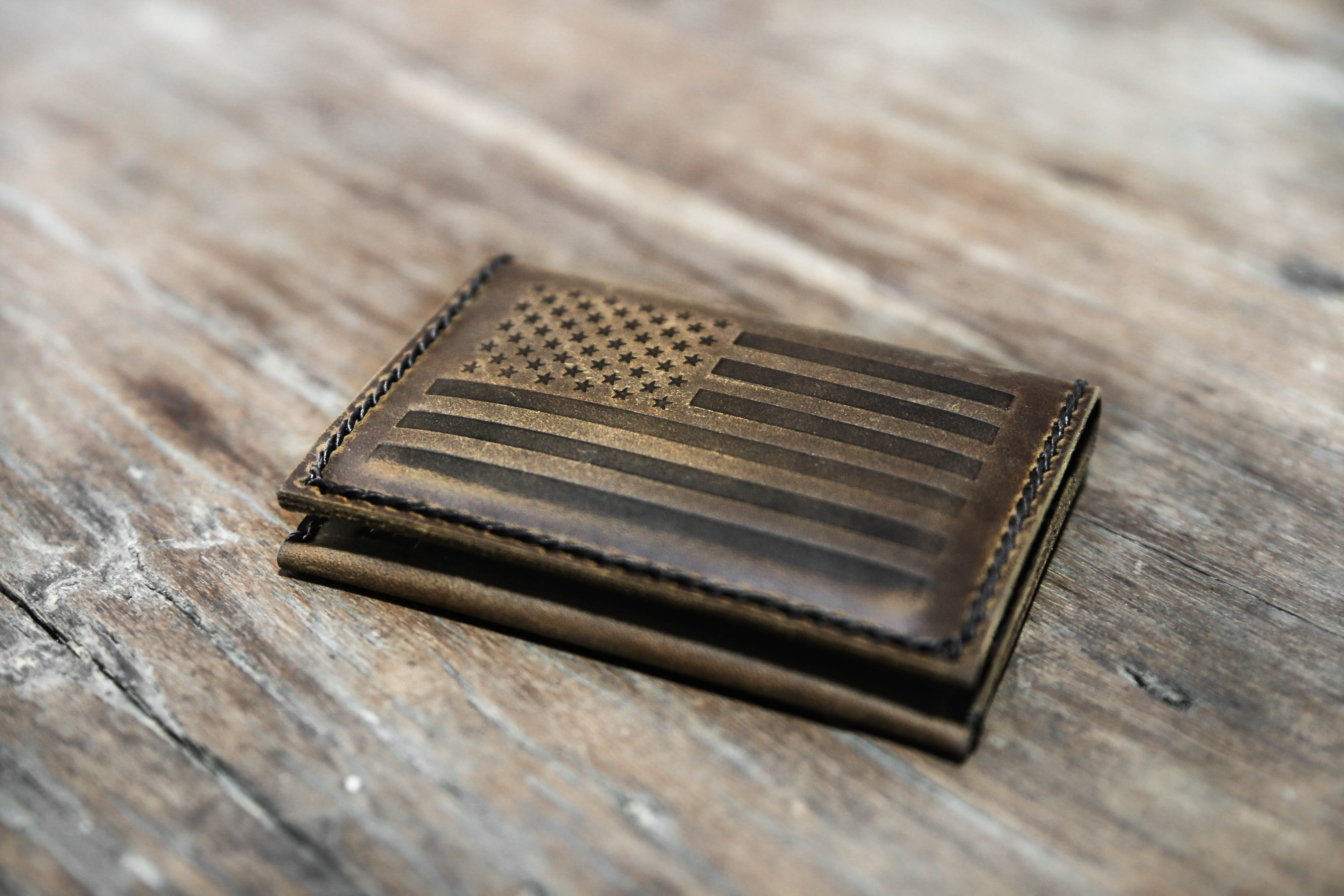 1d2ae4fa9ed American Flag Wallet  Handmade   Distressed Leather   Free Shipping