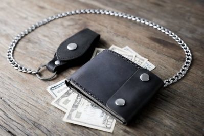 Black Distressed Leather Biker Wallet 1