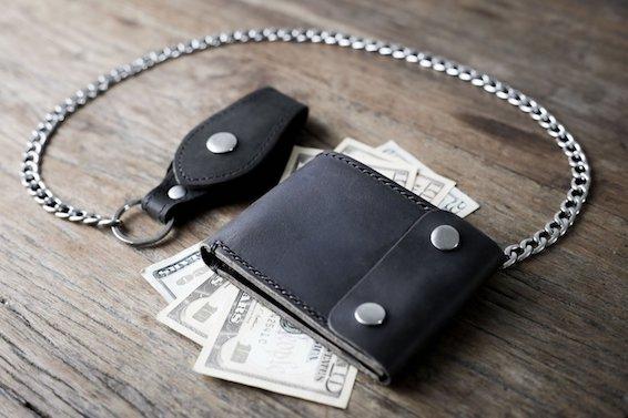 Black Distressed Leather Biker Wallet 1