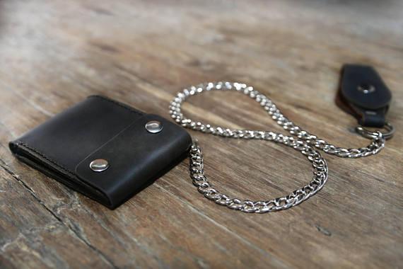 Black Distressed Leather Biker Wallet 4