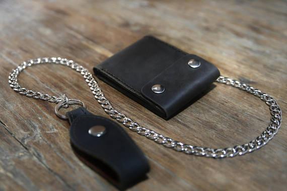 Black Distressed Leather Biker Wallet 5