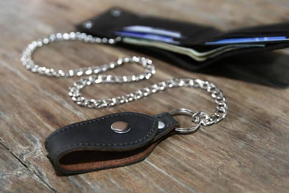 Black Distressed Leather Biker Wallet 6
