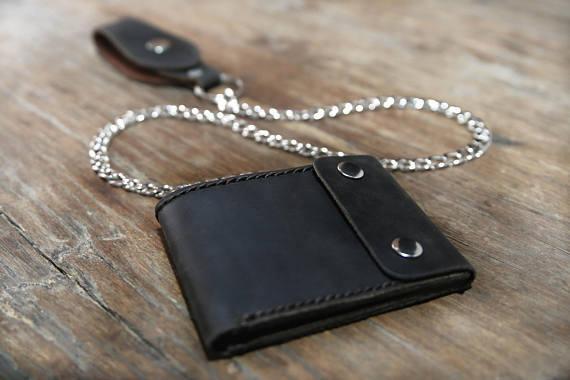 Black Distressed Leather Biker Wallet 7