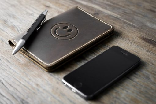 Handmade Leather Travel Journal Happy Face