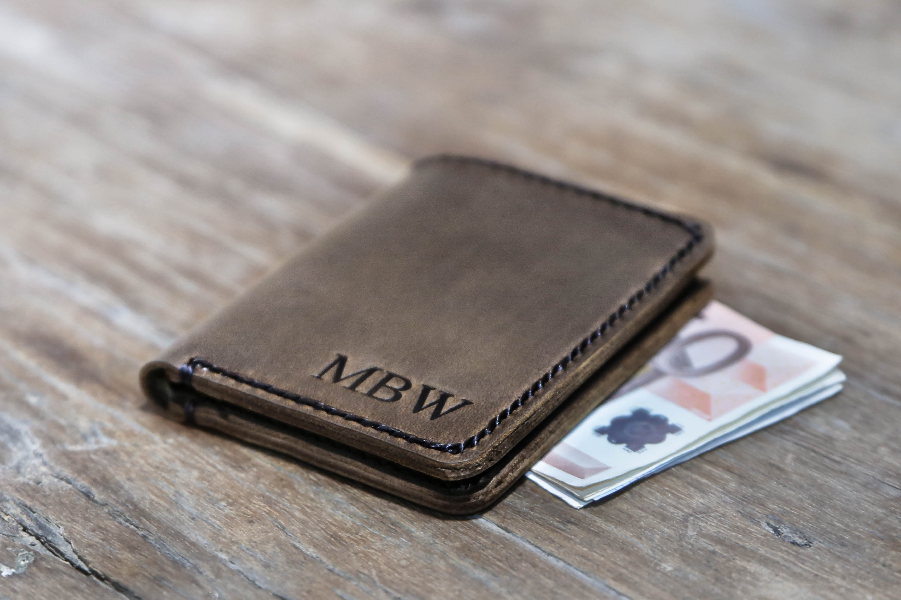 Minimalist Euro Wallet Personalized Mens Leather Card Wallet