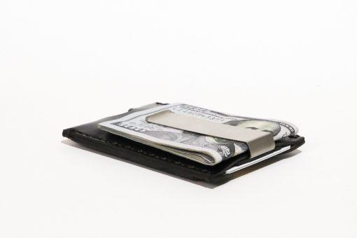 Minimalist-Money-Clip-Wallet-Vegetable-Chrome-Leather-Black