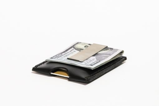 Minimalist Money Clip Wallet Vegetable Chrome Leather Black
