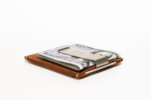 Minimalist Money Clip Wallet with Stainless Steel Clip Honey