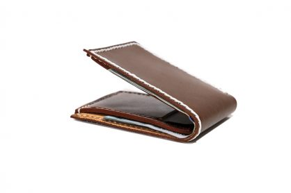 Slim Mens Wallet Bifold Whiskey White