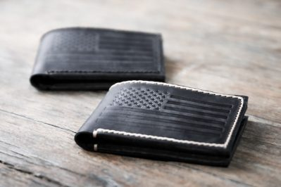 American Flag Bifold Wallet [Dark Distressed Leather] 1