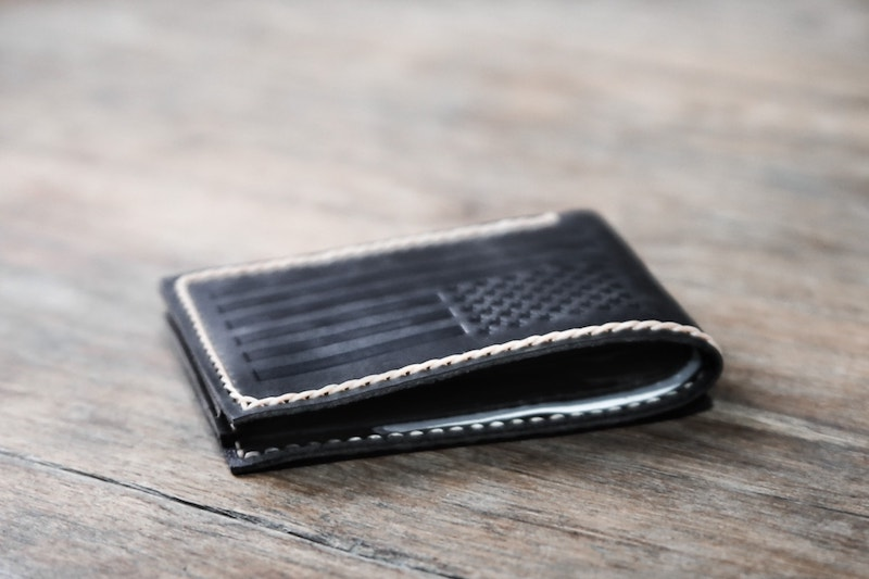 American Flag Bifold Wallet [Dark Distressed Leather] 4