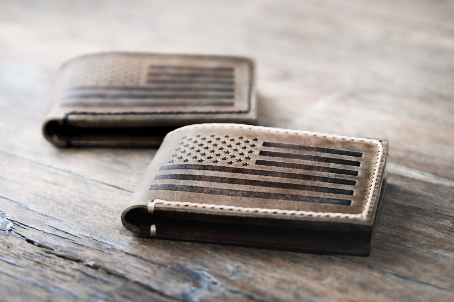 American Flag Bifold Wallet using Original Distressed Leather