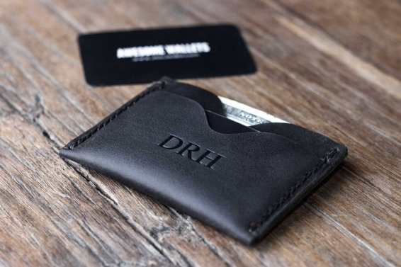 Minimalist wallet dark distressed leather