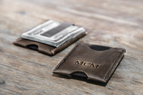 minimalist money clip wallet brown