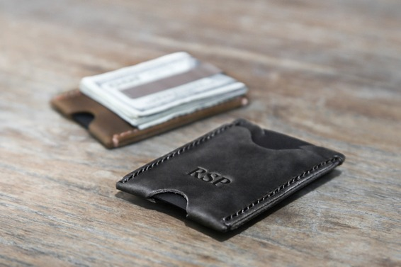 minimalist money clip wallet dark brown