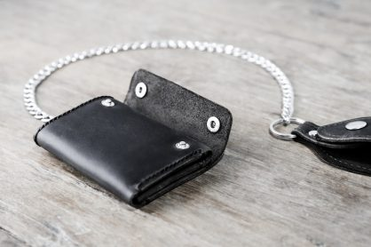 Black Trifold Chain Wallet