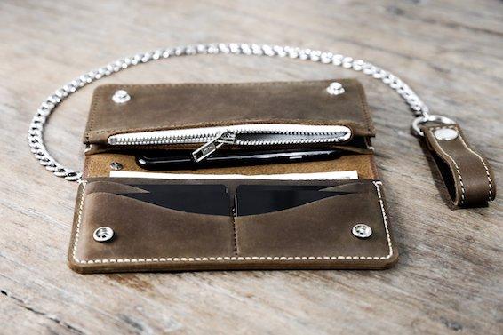 Leather Biker Wallet (Long) 4