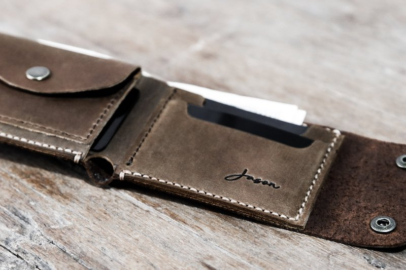 Personalized Biker wallet with coin pocket